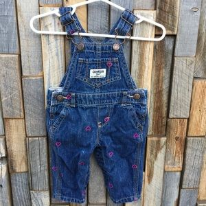 Girls Oshkosh jean overalls hearts size 3 months